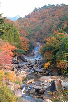 鹿川渓谷の奥にそびえる鉾岳