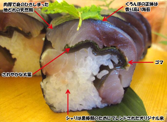 黒棒鯖寿司断面図