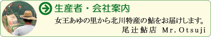 女王あゆの里から北川特産の鮎をお届けします。 尾辻鮎店 Mr.Otsuji