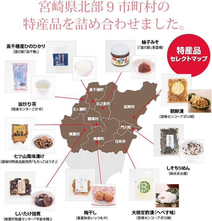 宮崎県北部9市町村の 特産品を詰め合わせました